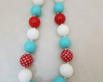 Bubblegum bead necklace red, white, blue toddler necklace