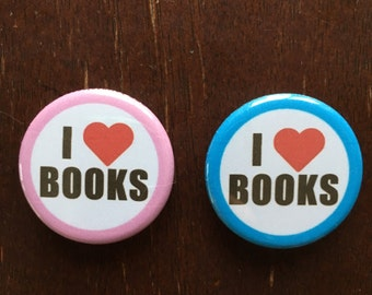 I Love Books Buttons, Set of 2