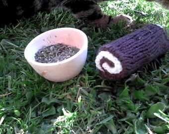 Swiss Roll Catnip Toy with Handmade catnip bowl
