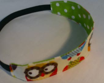 children's headband/reversible/cotton/girls headband/girls birthday/girls gifts/owls/muti colour
