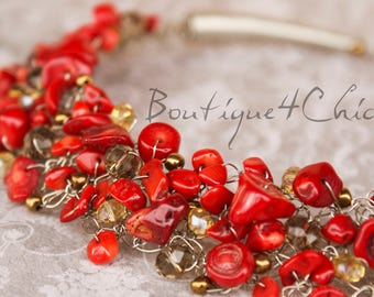 Real  coral necklace, real coral, red necklace
