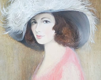 S O L D   S O L D  S O L D    A mid century portrait of a lady oil on board