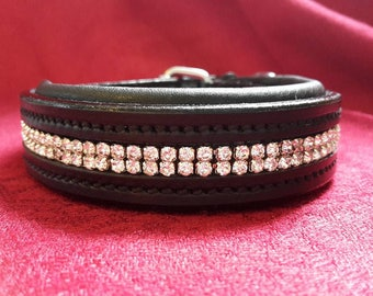 Dog Collar - Constellation - Small - 2 rows of crystals encased in a silver cup chain inset onto padded black leather.