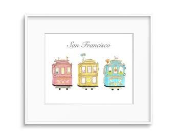 San Francisco Cable Cars, Art Print, Trolley, Nursery Art, Kids Room Decor,  SF Art, Transportation Art, Pastel Color, Shop For A Cause