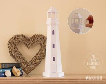 Lighthouse Papercraft, Nautical Decor, 3D lowpoly Lighthouse Model, DIY Paper Lantern, Coastal Beach Decor - PDF Printable Template Download
