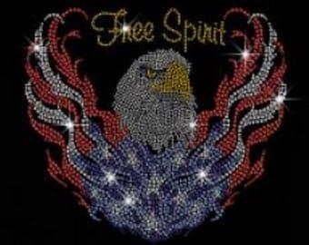 Rhinestone Flying Bald Eagle for Freedom Ladies Lightweight T-Shirt or DIY Iron On Transfer                               PHOF
