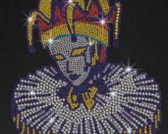 New Orleans Mardi Gras Mask Rhinestone Ladies T Shirt or DIY Iron on Transfer              9CR0