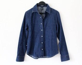 Vintage Ralph Lauren Denim Shirt 90's Ralph Lauren Button Down Jeans Shirt Blue Polo Jeans Women's Ralph Lauren  Long Sleeve Denim Jacket