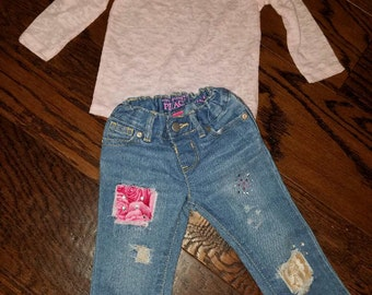 Baby girls distressed jeans