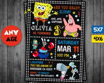 SpongeBob Invitation, SpongeBob, SpongeBob Party, SpongeBob Printable, SpongeBob Invite, SpongeBob Birthday, SpongeBob Card