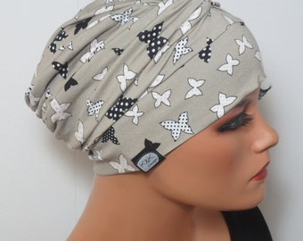 CHEMO Hat ladies Cap colorful with butterflies ideal for chemotherapy hair loss alopecia