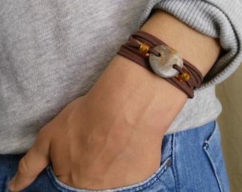 Mens wrap bracelet with beach pebble