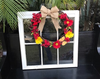 Red spring front door wreath