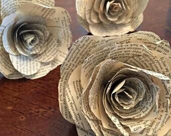 Handmade Book Roses (Set of 3)