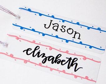 Custom Bookmark (Personalized Bookmark, Plastic Bookmark, Clear Bookmark, Kids Bookmark, Party Favor, Class Gift)