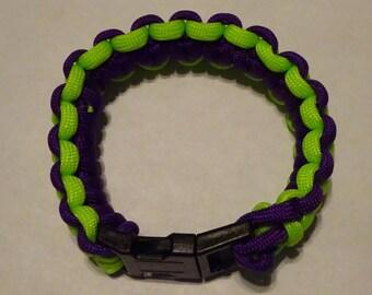 Handmade Paracord Bracelet-Green and Purple