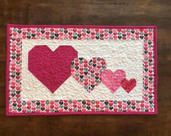 Valentines Table Runner Quilted