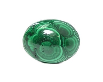 Green Banded Plume Malachite Semiprecious Gemstone Cabochon, Natural African Gem Stone, DIY Craft Jewel of the Congo