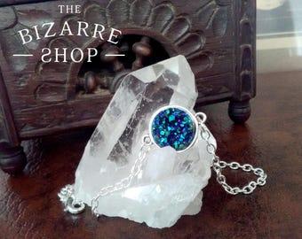 Bracelet titanium blue faux druzy / Boho / Esoteric