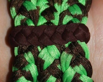 Bracelets Brown and Green, lycra, 100% Handmade