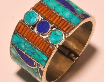 Tibetan jewelry,Gypsy Cuff,Beaded Trible Look Turquoise & Coral or Lapis Lazuli For Girls Gift