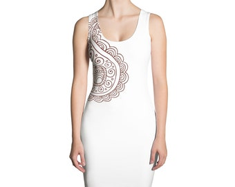 White Paisley Bodycon Sleeveless Dress