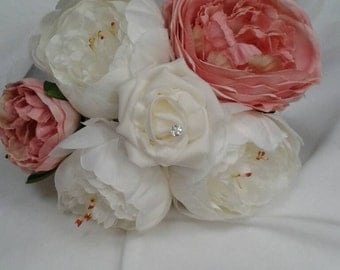 Peony and white rose bridesmaid Artificial bouquet.