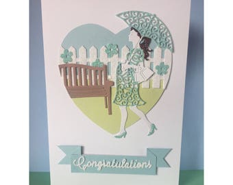 Congratulations Baby Shower Pregnancy Handmade Diecut Glitter Card