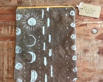 moon phase organic linen zip pouch