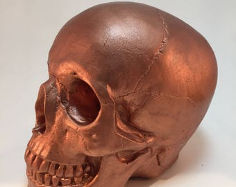 Human Skull - Metallic Copper