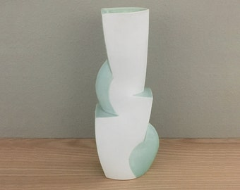 Modern Ceramic Vase / DOUBLE Cliff  in Blue
