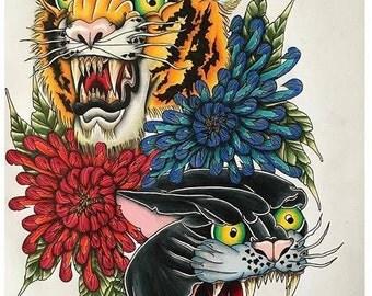 Big Cats A3 Print