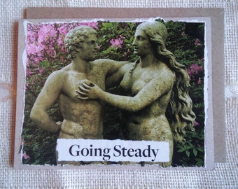 """Blank note card, hand-collaged & upcycled, one-of-a-kind, with envelope. LOVE note, """"Going Steady"""""""