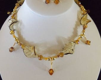 Gold Twisted Leaf Detailed Necklace & Earrings