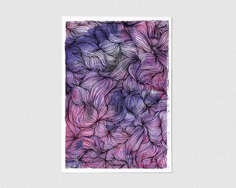 Sea of Love Abstract Illustration Blank Greeting Card