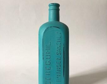 Distressed bottle, old apothecary bottle, Home decor, upcycled bottle, shabby chic, decorated bottle, Vintage bottle