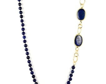 Lapis Long Statement Necklace With Resin Trim