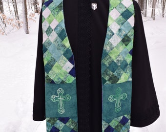 Green Mosaic Clergy Stole