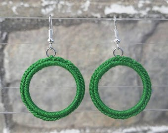 Small Crochet Classic Hoop Earrings -Green