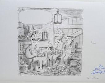 Original pencil drawing-the garden of Daubigny