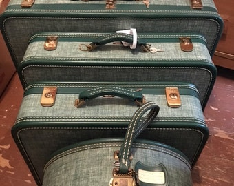 1940s, green tweed, American Tourister luggage set of 3 + hat case