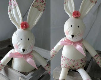 Decorative shabby chic bunny ,big eared bunny ,hand made for decorative purposes,living room ,nursery very cute,