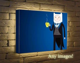Finn and Jake night light, Lighted print, Light Box, Wall Art, Led wall decor, picture frame