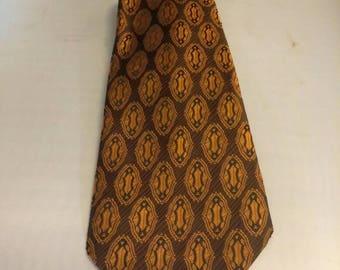 1970s Geometric Brown Tie