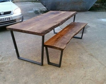 Industrial chic trapezium table. Ash wood