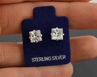 Fashion 4 Carat Princess cut White Sapphire Sterling Silver Stud Earrings