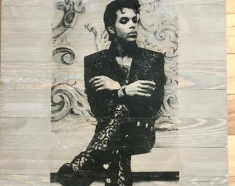 18x24 Handmade Photo Transfer Whitewashed Wood Art | Prince