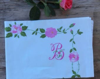 hand-embroidered pillowcases, hand embroidery pillow case, pillow D hand embroidery, wedding gift, housewarming gift, birthday
