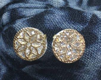 Gold Flower Cubic Zirconia Earrings, Romantic Earrings, Petite Flower Earrings, Bridal Earrings, Wedding Jewelry, Flower Stud Earrings