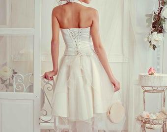 Short Wedding Dress. V-neck, Knee Length Wedding Dress. A-line Beach Bridal Dress. Halter Garden Wedding Dress.Prom Dress. Bridesmaid dress.